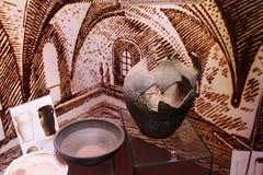 TRAKAI, LITHUANIA - JANUARY 02, 2013: Ancient broken pot in Museum of Sacred Art. Ancient broken pot in Museum of Sacred Art part of the Trakai Historical Museum stock photography