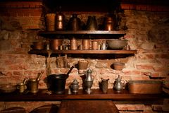 TRAKAI, LITHUANIA - JANUARY 02, 2013: Exhibition of medieval utensils in Museum of Sacred Art Trakai Historical Museum. Exhibition of medieval utensils in stock image