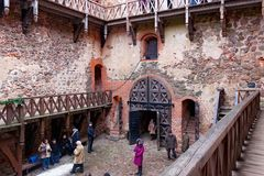 TRAKAI, LITHUANIA - JANUARY 02, 2013: Inner yard of the Trakai Island Castle. royalty free stock photo