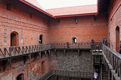 TRAKAI, LITHUANIA - JANUARY 02, 2013: Inner yard of the Trakai Island Castle. royalty free stock photos