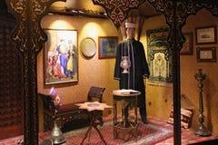TRAKAI LITHUANIA, STYCZE?, - 02, 2013: Wystawa karaima ?ycie w Trakai wyspy kasztelu zdjęcie royalty free