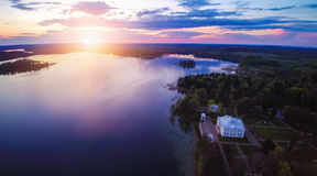 Trakai, Lithuania. Uzutrakis view from above, Lithuania. Sunset time Stock Images