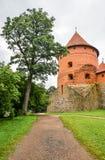 Trakai, Litouwen - Augustus 15, 2017: Mooi landschap van oud Trakai-Eilandkasteel met weg en boom, Litouwen Stock Foto's