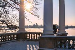 Trakai, Litouwen die 2019-01-23, Galves-meer, vrouw het kasteel bekijken Weergeven aan Trakai-kasteel van Uzutrakis-zeer mooie ma royalty-vrije stock foto's