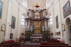 TRAKAI, LITOUWEN - JANUARI 02, 2013: Binnenland van Roman Catholic St Mary Church royalty-vrije stock afbeelding