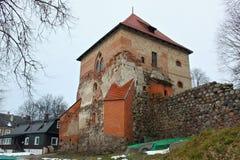 TRAKAI, LITU?NIA - 2 DE JANEIRO DE 2013: Castelo da pen?nsula de Trakai fotografia de stock