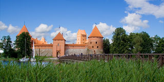 Trakai Pilis and bridge Stock Photos