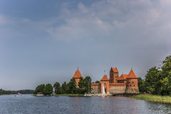 Trakai red brick castle Royalty Free Stock Image