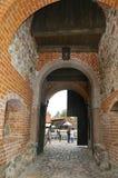 Trakai, sierpień 25: Wejście Trakai kasztel od wyspy Trakai w Lithuania Fotografia Stock