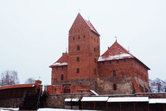 Trakai slott i vinter Royaltyfri Bild