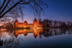 Trakai slott på night2 Arkivbild