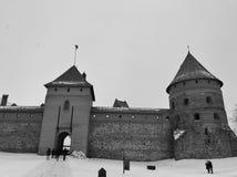 Trakai slott på vinter royaltyfria foton