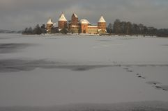 Trakai in Winter. Castle bathed in rare sunlight -- Trakai, Lithuania Royalty Free Stock Image