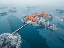 Trakai wyspy Grodowi i mroźni drzewa, Lithuania fotografia royalty free