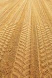 Traks auf sandclose oben Stockfotos