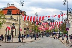 Trakt Krolewski街,华沙 免版税库存照片