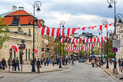 Trakt Krolewski gata, Warszawa Royaltyfria Foton