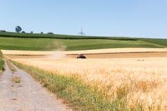 Traktor auf einem Gebiet Stockfoto