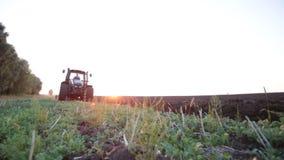 Traktor, der das Schwarzerdepflugfeld bei Sonnenuntergang pflügt stock video