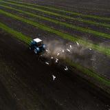 Traktor, der Feld am Frühling, Vogelperspektive kultiviert Lizenzfreie Stockfotos