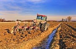 Traktor, der Feld pflügt Stockfotografie