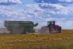 Traktor, der geladenen Kornwarenkorb schleppt Stockfotos