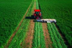 Traktor, der grünes Feld, Vogelperspektive mäht Stockfotos