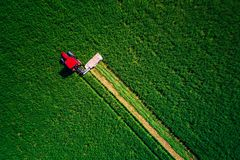 Traktor, der grünes Feld, Vogelperspektive mäht Stockbilder