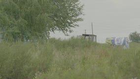 Traktor, der künstliche Düngemittel auf dem Gebiet verbreitet Landwirt mit dem Traktorsäen - Säen erntet an den landwirtschaftlic stock video footage
