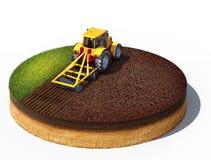 Traktor, der Land für das Säen vorbereitet Lizenzfreies Stockbild