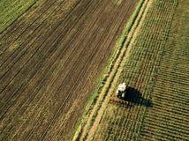 Traktor, der Maiserntefeld, Vogelperspektive kultiviert stockfotografie
