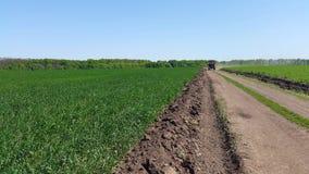 Traktor fährt auf die Straße unter Feldern des grünen Weizens Stockbilder
