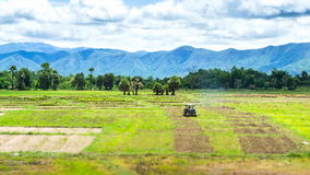 Traktor för användare för bonde för Tid schackningsperiod som arbetar i jordbruksmark arkivfilmer