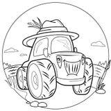 Traktor för färgläggningbok Royaltyfria Bilder