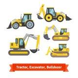 Traktor grävskopa, bulldozeruppsättning royaltyfri illustrationer