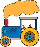 Blue Tractor with a cloud of smoke stock illustration