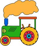 Green little Toy Tractor vector illustration