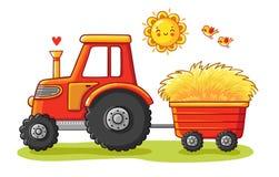 Traktor med en vagn stock illustrationer