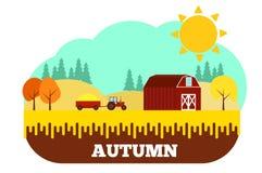 Traktor mit Ernte am Bauernhof in Autumn Flat Design lizenzfreie abbildung