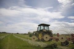 Traktor mit Heurechen Stockbild