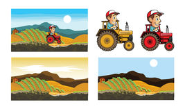 Traktor och bonde Cartoon stock illustrationer