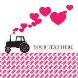 Traktor och hjärtor. Fotografering för Bildbyråer