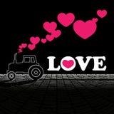 Traktor och hjärtor. Royaltyfri Foto