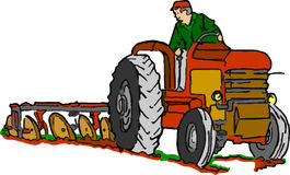 Traktor på arbete på vit bakgrund Royaltyfri Fotografi
