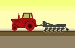 Traktor på arbetsvektorn Stock Illustrationer