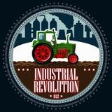 Traktor på bakgrunden av ett industriellt landskap royaltyfri illustrationer