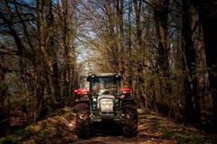 Traktor på stora hjul på jordvägen i vårskog Arkivbilder