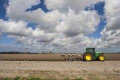 Traktor på Texel royaltyfri bild