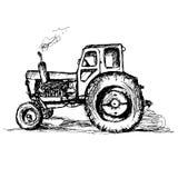 Traktor på vit bakgrund Fotografering för Bildbyråer