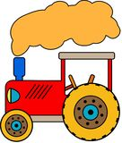 Red little Toy Tractor with cloud of smoke vector illustration